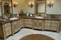 Remarkable Beige Maple L Shaped Bathroom Cabinet Ideas Custom Refinishing With Double Sinks Vanity And The Combined Decorative Carved Art Also Classic Uplights Fixture Vanity Lamps In Wall Mount Style, The Superior Custom Bathroom Vanities Design: Bathroom, Furniture