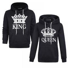 Black King And Queen, King Queen, Printed Sweatshirts, Hooded Sweatshirts, Matching Hoodies, Matching Couple Outfits, Casual Shirts, Long Sleeve Shirts, T Shirts For Women