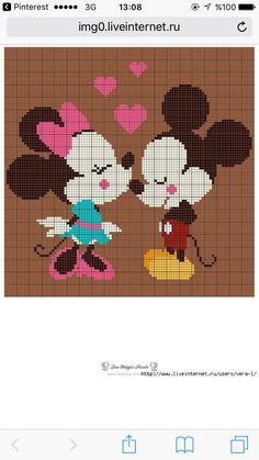 Minnie and Mickey Mouse x-stitch Cross Stitch Beginner, Cross Stitch Baby, Cross Stitch Designs, Cross Stitch Patterns, Cross Stitching, Cross Stitch Embroidery, Graph Paper Art, Donia, Tapestry Crochet