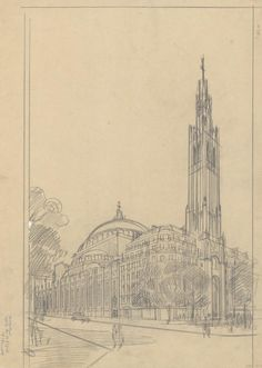 Eglise du Saint-Esprit, perspective sur l'avenue Daumesnil et la rue Cannebière à Paris, 1928, CP/377AP/232/y1-04-07 © Archives nationales, France