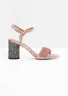 & Other Stories Velvet Sequin Heel Sandalette in Pink