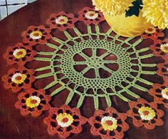 NEW! Flower Cartwheel Doily crochet pattern from Newest in Floral Doilies, Book No. 268, from 1950.