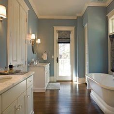 Blue Bathroom with hardwood floors