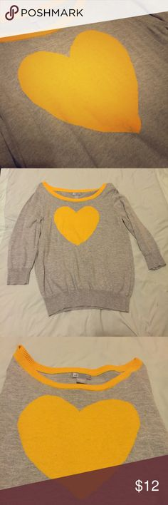 JCP Gray Sweater with Yellow Heart Super cute and comfy! Worn and laundered once. EUC! I'd love to consider your reasonable offers via that nifty offer button! Motivated to sell! jcpenney Tops