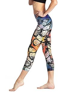 HUINI Womens Burtterfly Printed Colorful Yoga Pants Workout Tights Leggings Active Dance Trousers Size M *** Want additional info? Click on the image.