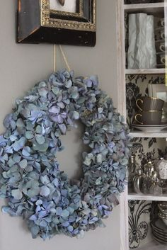 Raindrops and Roses: Photo Hortensia Hydrangea, Hydrangea Wreath, Blue Hydrangea, Hydrangeas, Raindrops And Roses, Blue Bonnets, Door Wreaths, Flower Art, Floral Arrangements