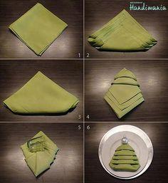 Christmas tree napkin fold, next christmas dinner Josh!