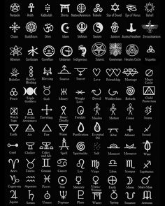 Magical Symbols. Symbols are a huge part of any earth-based practitioners arsenal. Symbols can be used to infuse energy by means of inscribing them onto candles leaves spell pages etc. They can be used to draw energy when painted or drawn on the body on stones or on talismans etc. Above is a guide of several symbols used in modern pagansim as well as symbols representing certain paths or faiths. #energy #positivevibes #herbal #wisdom
