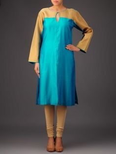 Turquoise Tissue Detail Chanderi kurta Chudi Neck Designs, Kurti Neck Designs, Latest Kurti, Ladies Dress Design, Western Wear, Indian Dresses, I Dress, Fashion Dresses, Cold Shoulder Dress