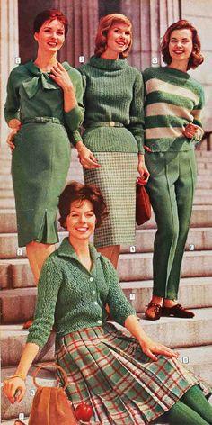 Vintage Fashion 1960 matching sweaters and wool skirts Bobbi Brooks Moda Vintage, Moda Retro, Vintage Mode, Retro Vintage, 60s Fashion Trends, Sixties Fashion, Retro Fashion, Womens Fashion, Fashion Vintage