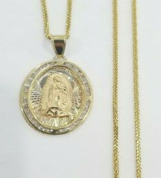 14k Tri-Color Gold Small//Mini Religious Virgin Mary Stamp Charm Pendant Round Disc 12mm with 18 Rolo Chain