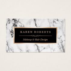 Trendy White Marble Makeup Artist Hair Salon Business Card - click/tap to personalize and buy