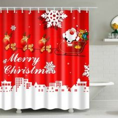 Christmas Santa Coming Polyester Fabric Shower Curtain