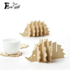Non-heat Pine MDF coasters creative Place mat/office supplies coffee cup Mat Home Decor DIY handmade coaster simple animal shape