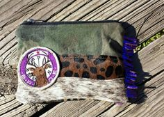 Love this small camo deer patch zipper pouch I made. Cowhide