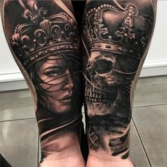 Cool King and Queen Half Sleeve Tattoos on Forearm - Les meilleurs tatouages ​​roi et reine . - Cool King and Queen Half Sleeve Tattoos on Forearm – Best King and Queen Tattoos: Cool King and Qu - Skull Couple Tattoo, Skull Tattoos, Leg Tattoos, Body Art Tattoos, Sleeve Tattoos, Tattoo Art, Tatoos, Popular Tattoos, Trendy Tattoos