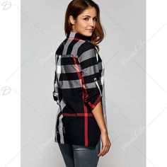 Long Sleeve Asymmetric Plaid Blouse - BLACK L