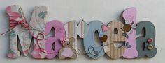 Nome decorado em MDF e Scrap, com aplique de ursinha em mdf, Rosa Antigo/Bege/Verde personalizado para decoração de quarto, porta maternidade, festas... Tema e cores a sua escolha R$ 102,96