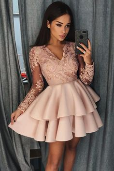 Long Sleeves Homecoming Dress With Applique and Beading, Popular Short Prom Dress ,Fashion Da. - Long Sleeves Homecoming Dress With Applique and Beading, Popular Short Prom Dress ,Fashion Dancel Dress Source by - Long Sleeve Homecoming Dresses, Formal Dresses For Teens, Prom Dresses Long With Sleeves, Hoco Dresses, Prom Party Dresses, Modest Dresses, Party Gowns, Dress Party, Short Prom Dresses