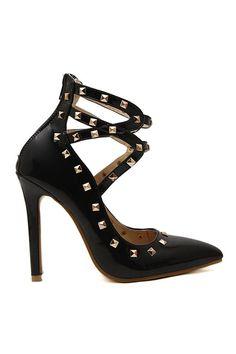 ROMWE | ROMWE Rivets Embellished Black High Heels, The Latest Street Fashion