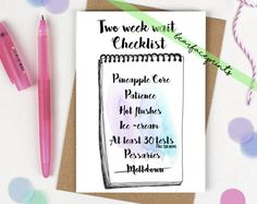 Greeting card  2ww checklist by BearfacePrints on Etsy