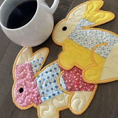 Vintage Quilt BUNNIES. These are great for decorating or to set your coffee on!