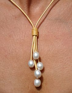 Pearl and Leather Necklace 5 Pearl Metallic by ChristineChandler