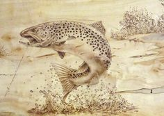 pyrography patterns fish - Hľadať Googlom; this pinner's comment: this would be awesome done in a huge wood slab fireplace mantel