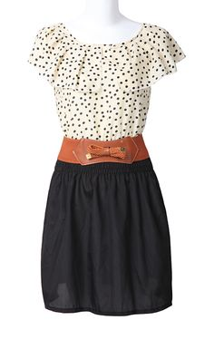 Apricot Black Short Sleeve Polka Dot Bandeau Dress. Looks like something Erin on The Office would wear!
