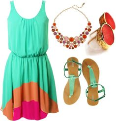 What a pretty, bright dress! The jewelry and shoes tie in the entire outfit. I def need this for the summertime!