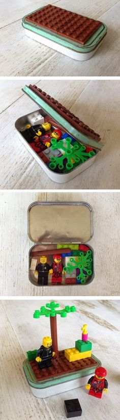 Fine motor on the go! Perfect for purse when your little needs a distraction. Fine motor on the go! LEGO in a tin, with a base on top!