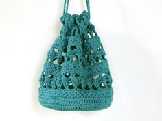 cute star crochet purse bag in teal blue with by SlaneyHandCraft, €18.00
