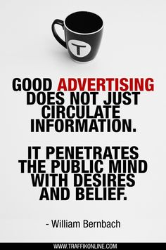 """""""Good advertising does not just circulate information. It penetrates the public … – Traffik Advertising """"Good advertising does not just circulate information. It penetrates the public … Advertising Quotes, Marketing Quotes, Sales And Marketing, Business Marketing, Marketing And Advertising, Online Marketing, Advertising Design, Visual Advertising, Restaurant Advertising"""