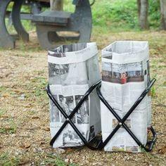 秋の行楽シーズン。キャンプやバーベキューに出かける方も多いのでは? 持ち運びしやすく中身のごみが見えない、新聞紙で作る簡単ごみ箱を紹介します。 Diy And Crafts, Paper Crafts, Camping Hacks, Good Things, Bags, Outdoor, Campsite, Organize, Adventure