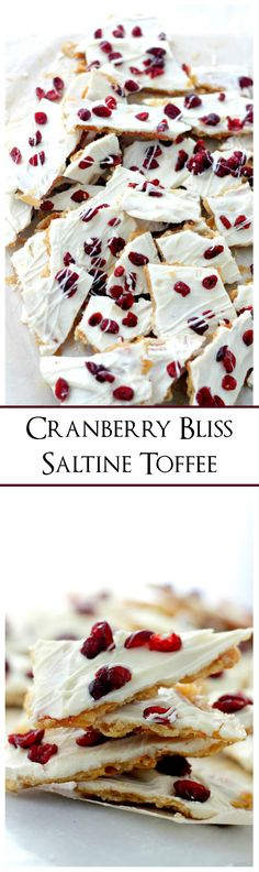 Cranberry Bliss Saltine Toffee   www.diethood.com   Saltine Crackers covered with sweet toffee, melted white chocolate and beautiful, tart cranberries.