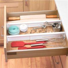 "Progressive Customizable Adjustable Drawer Organizer Set/2 21"" White | Kitchen Stuff Plus"