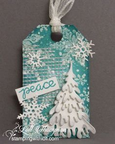 Stamping with Loll: Twelve Tags of Christmas ... Day Two using mesh / drywall tape