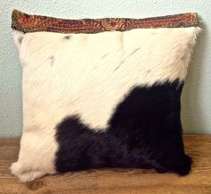 Square Hair on Cowhide Pillow, Decorative Leather Pillow by GretelStoudt on Etsy