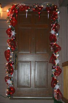 My front door 2011 Christmas World, Christmas Scents, Christmas Room, Outdoor Christmas, Christmas Crafts, Christmas Ideas, Diy Christmas Door Decorations, Christmas Door Wreaths, Christmas Staircase