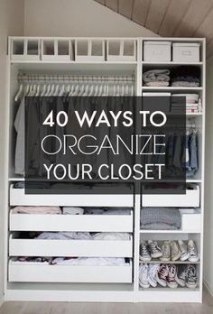 40 Easy Ways to Organize Your Closet in Get your home organized with these space saving idea. Master Closet, Closet Bedroom, Bedroom Small, Ideas Para Organizar Ropa, Ideas Prácticas, Organize Your Life, Dream Closets, Closet Designs, Deco Design