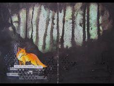 Jehkotar CraftChallenge Mixed Media ArtJournal / Fox In the Forest / Background using Distress inks and black gesso Inspiraationa toimi kuva ja bingorivi. Forest Background, Distress Ink, Mixed Media Art, Fox, Artist, Painting, Artists, Painting Art, Mixed Media