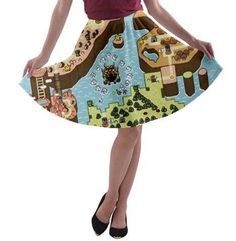 SMW Super Mario World map pre-sale skater skirt orders depicting one of several different hand painted images. The artwork was originally hand painted in either watercolor or acrylic by this shops two operating artists. Super Mario World, Skater Skirt, Shops, Hand Painted, Watercolor, Artists, Map, Skirts, Artwork