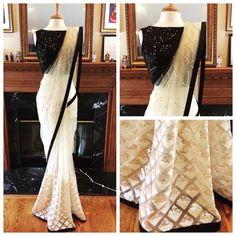 * Saree Fabrics: Nylon Mono Net * Saree Color: Off White * Saree Length: M * Blouse Fabrics: Banglori Sequence * Blouse Color: Black * Blouse Length: M * Inner : 2 m * Work: Sequence * Look: Designer Saree * Wash Care: First Saree Designs Party Wear, Saree Blouse Designs, Net Saree Designs, Saree Draping Styles, Saree Styles, Patiala Salwar, Anarkali, Lehenga Choli, Sari Dress
