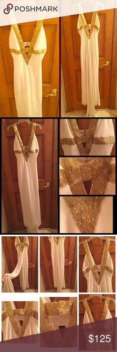 JOVANI White & Gold Prom Dress Jovani white & gold prom dress | worn once for prom back in 2007 | dress no longer sold in stores | Cleopatra dress | attached long trail | size 2 | shell: 100% poltester | lining: 100% polyester | the gold beads are out of line in certain places | the bottom of the dress and trail are dirty | the inside of the dress is dirty | see pictures | call Worldwide Gown Cleaning for proper cleaning of this fine garment _ toll free number is attached to the tag of the…