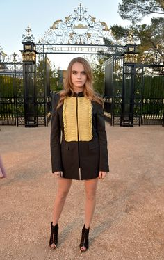 Cara Delevingne in a Burberry Prorsum dress and lace-up heels at the Burberry 'London In Los Angeles' Event