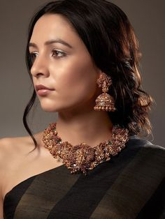 Gold Plated South Indian Lakshmi Temple Jewelry Necklace Set/ Gold plated Temple work Choker and Jhumka Earrings Set - sri devi - internationally inspired Ruby Jewelry, Fine Jewelry, Jewelry Necklaces, Gold Jewelry, Bridal Jewelry, Fancy Jewellery, Jewelry Sets, Jewelery, Lotus Jewelry