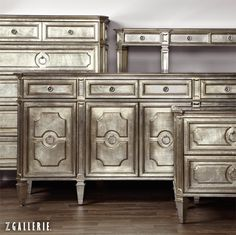Z Gallerie's gorgeous new Palais Collection glows with an exquisite soft champagne finish and antiqued mirrored tops.
