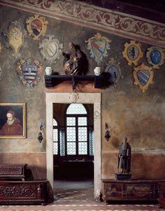 Entrance to Senator Da Como's studio, Casa del Podesta, Ugo Da Como Foundation, Lonato. Italy, 20th century.