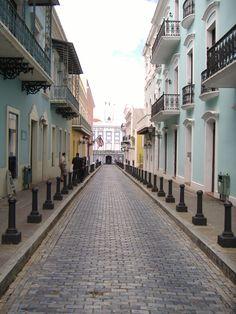 The long walk down La Fortaleza Street in San Juan, Puerto Rico.