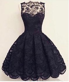 Knee-Length Black Prom Dress,Elegant Homecoming Dress,Lace Homecoming Dress For Teens - Thumbnail 1 Elegant Homecoming Dresses, Hoco Dresses, Junior Dresses, Dance Dresses, Elegant Dresses, Pretty Dresses, Beautiful Dresses, Dress Outfits, Evening Dresses